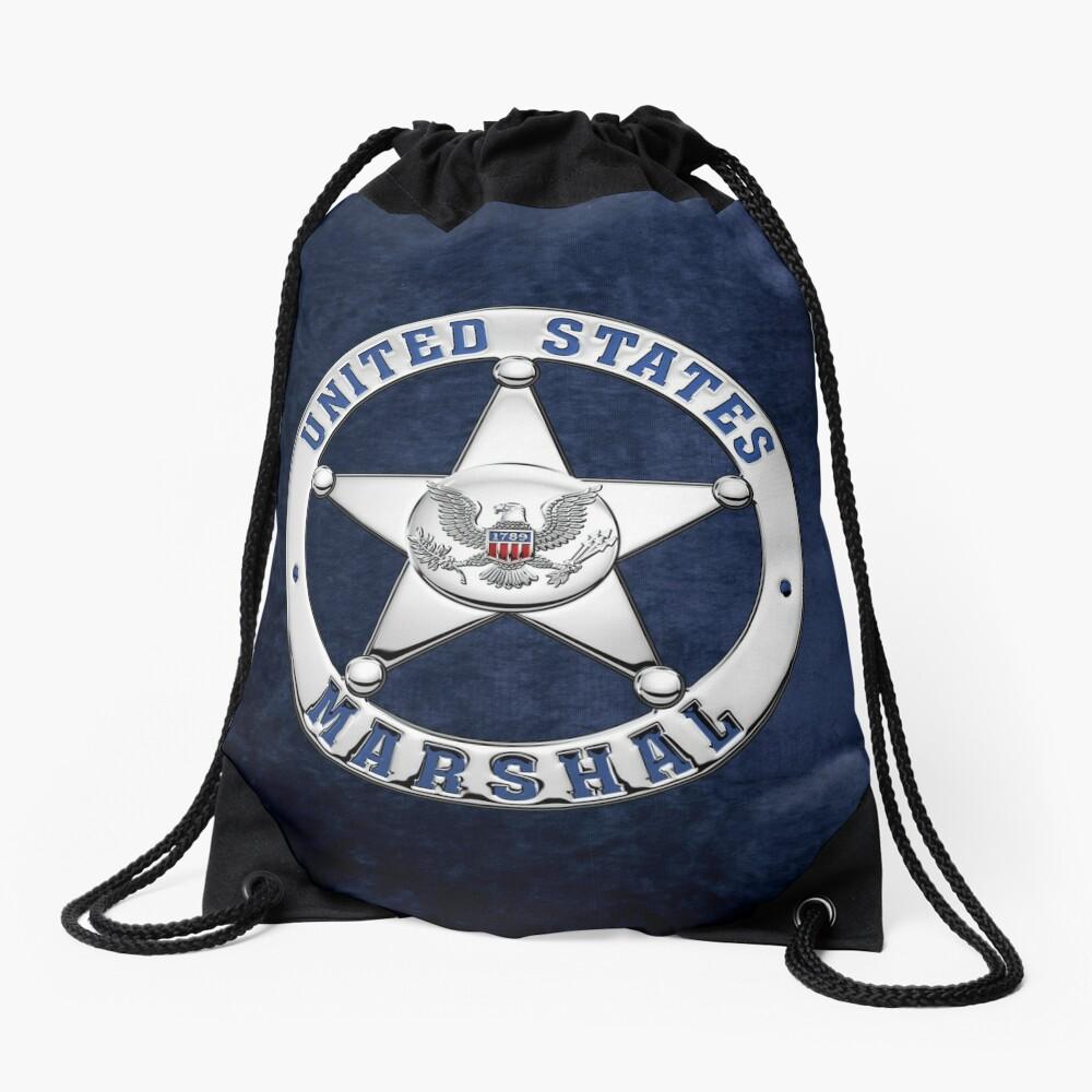 U.S. Marshals Service - USMS Badge over Blue Velvet Drawstring Bag