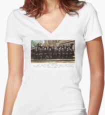 Colorized - Solvay Conference 1927. Einstein, Curie, Bohr and more. Women's Fitted V-Neck T-Shirt