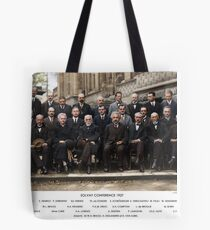 Colorized - Solvay Conference 1927. Einstein, Curie, Bohr and more. Tote Bag