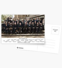 Colorized - Solvay Conference 1927. Einstein, Curie, Bohr and more. Postcards