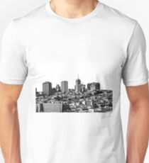 city view at San Francisco in black and white T-Shirt