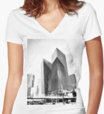 twin buildings at Las Vegas, USA in black and white Women's Fitted V-Neck T-Shirt