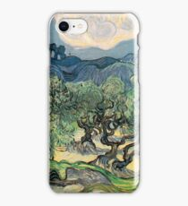 Olive Trees by Vincent van Gogh. Famous landscape oil painting. Van Gogh's unique swirling painting style. iPhone Case/Skin