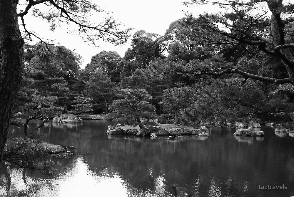 Japan - View From the Golden Temple Path BW1 by taztravels