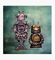 Two Funny Robots Photographic Print