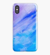 blue diagonal beautiful painted texture background iPhone Case/Skin