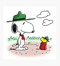 Camping Snoopy & Woodstock (Peanuts) Photographic Print