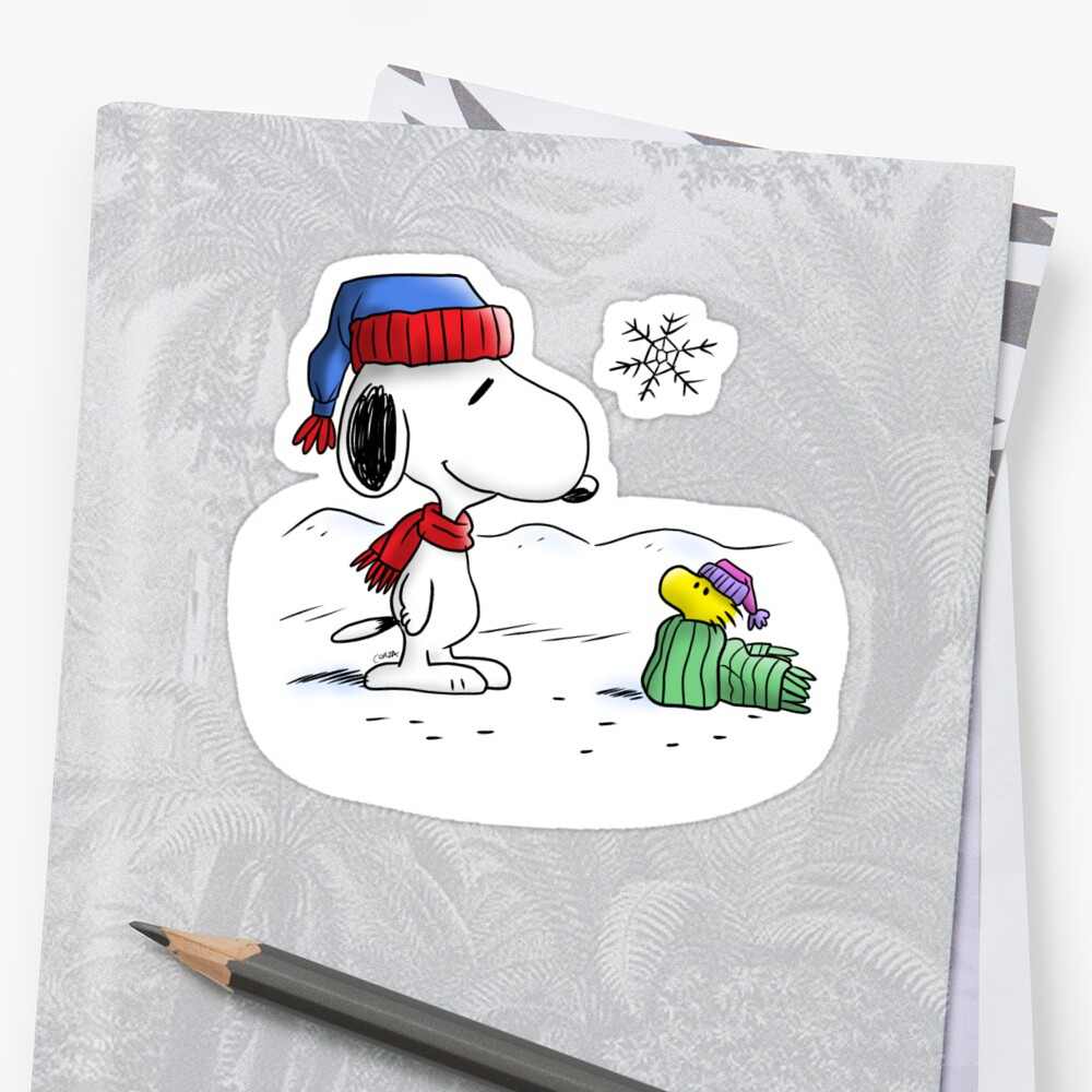 Winter Snoopy Woodstock Peanuts Stickers By Corzamoon Redbubble
