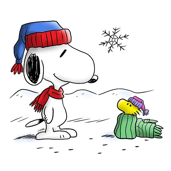 Winter Snoopy Woodstock Peanuts Posters By Corzamoon Redbubble