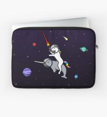 Unicorn Riding Narwhal In Space Laptop Sleeve