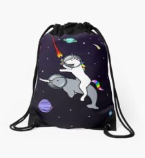 Unicorn Riding Narwhal In Space Drawstring Bag