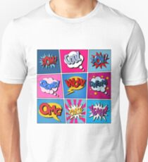 Comic Bubbles Set. Expressions Bom, Cool, Pow, Oops, Wow, Dream, Omg, Crash, Yeah. Halftone Background. Pop Art Unisex T-Shirt