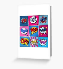 Comic Bubbles Set. Expressions Bom, Cool, Pow, Oops, Wow, Dream, Omg, Crash, Yeah. Halftone Background. Pop Art Greeting Card