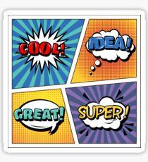 Pop Art Banner. Comics Style. Expressions Set. Bubbles Set. Cool, Idea, Great, Super. Halftone Background Sticker