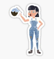 retro cartoon woman in dungarees with coffee  Sticker
