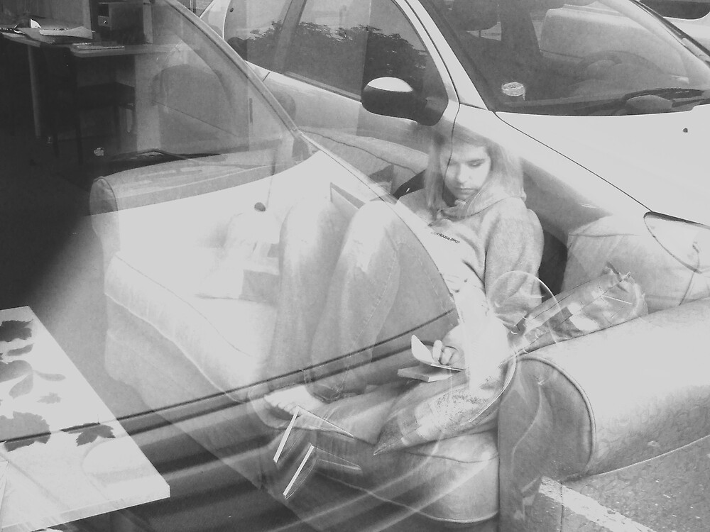 figure in car reflection by Charlotte-Emily Edgell