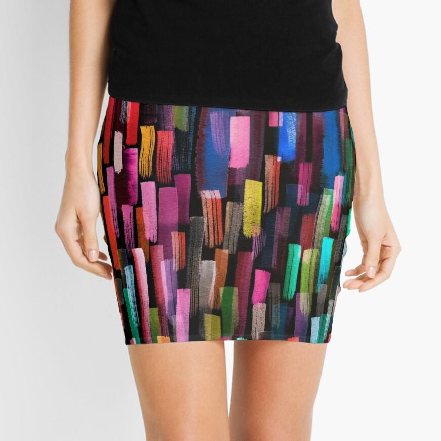 Multicolored watercolor stripes pattern Mini Skirt