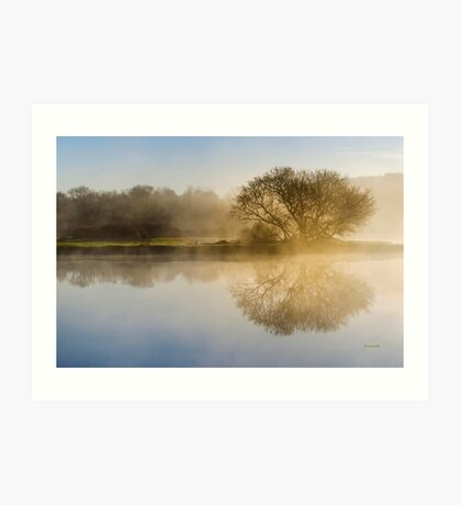 Misty Sunrise Landscape Art Print