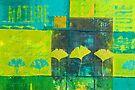 Green Ginkgo Leaf Painting by artsandsoul