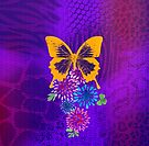 Psychedelic butterfly and flowers by Sybille Sterk