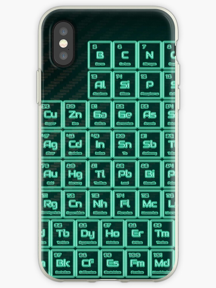 Tritium Green Glowing Tube Periodic Table Iphone Cases Covers By