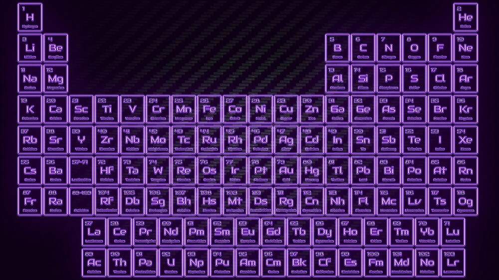Purple Glow Tube Periodic Table by sciencenotes