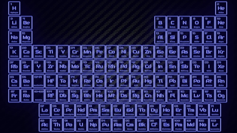 Deep Blue Glow Tube Periodic Table by sciencenotes