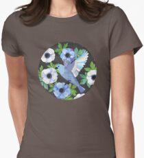 Blue Bird & Anemone Art Print Womens Fitted T-Shirt