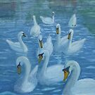 River Nene Swans by Peter Lythgoe