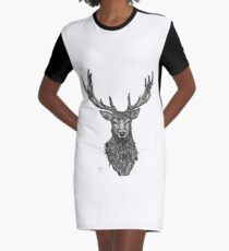 Geometric Stag Graphic T-Shirt Dress