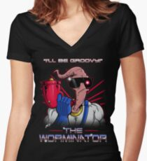 The Worminator Women's Fitted V-Neck T-Shirt
