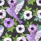 Purple Paper Anemone Collage by micklyn