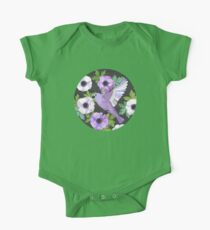 Purple Paper Anemone Collage One Piece - Short Sleeve