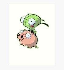 Gir riding his Pig Art Print