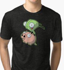 Gir riding his Pig Tri-blend T-Shirt