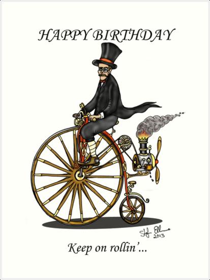 STEAMPUNK PENNY FARTHING BICYCLE BIRTHDAY CARD Art Prints by – Steampunk Birthday Card