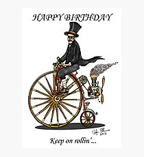 STEAMPUNK PENNY FARTHING BICYCLE BIRTHDAY CARD Photographic Print