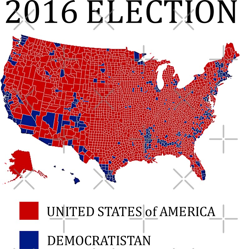 Quot 2016 Election Results Map By County Quot Stickers By J