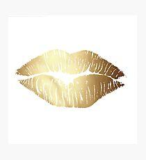 gold lips Photographic Print