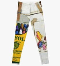 Crayola Crayons & Drawing realistic still life painting Leggings