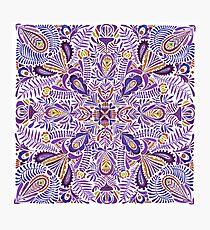 Delicate purple springtime mandala pattern Photographic Print