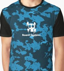 Zombie Cool Blue Camouflage By BoardZombies Skate Art Design Graphic T-Shirt