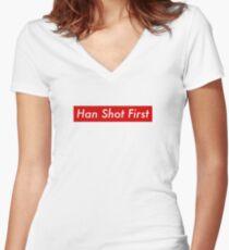 Supr eme Han Shot First Bogo Women's Fitted V-Neck T-Shirt