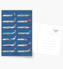Airbus A380 Operators Illustration - Blue Version Postcards