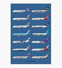 Airbus A380 Operators Illustration - Blue Version Photographic Print