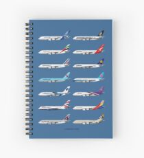 Airbus A380 Operators Illustration - Blue Version Spiral Notebook