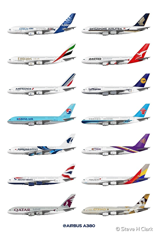 Airbus A380 Operators Illustration by © Steve H Clark
