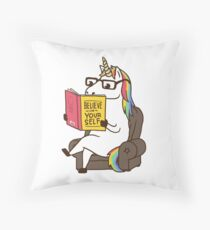 Unicorn Believe in Yourself Magical Fabulous Throw Pillow
