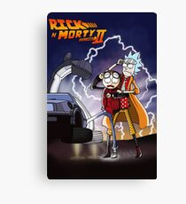 Rick & Morty - Back To The Future Crossover Mashup Canvas Print