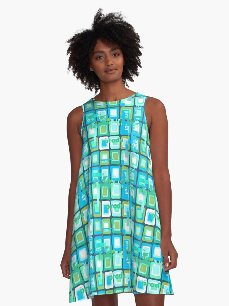Abstract texture of square shapes and fonts in Sixties style A-Line Dress Front
